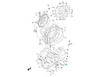 [12] Šroub (motor - kryty skříně) - Hyosung GT 650 N