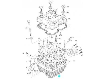 [1] Hlava válce (hlava válce a kryt ventilů) - Hyosung RT 125 D E3