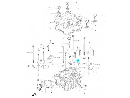 [17] Držák vodící (hlava zadního válce) - Hyosung GV 250