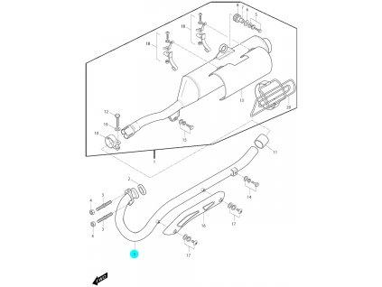 [9] Koleno výfuku (výfuk) - Hyosung RX 125 SM E3