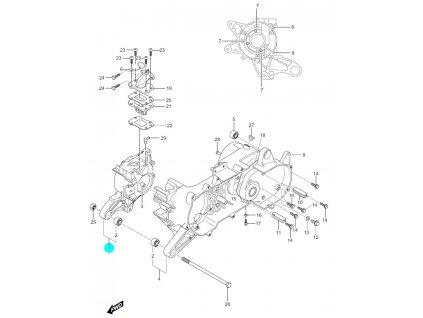 [1] Kliková skříň pravá 11311HG2650HPA (skříň klikového hřídele) - Hyosung SF 50 (PRIMA)