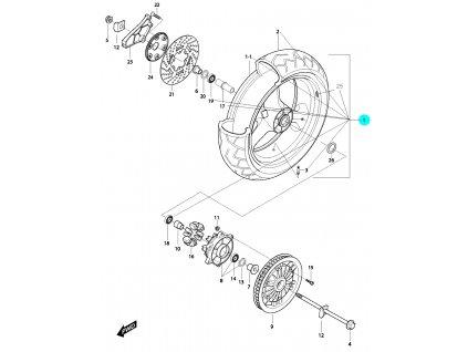 [1] Zadní kolo kompletní (FIG51) - Hyosung GV 650