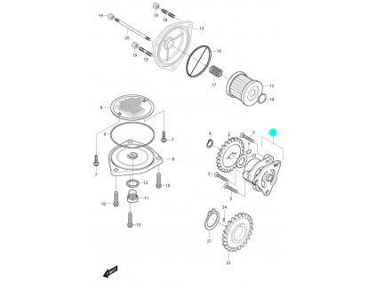 [1] Olejové čerpadlo (olejové čerpadlo a filtr) - Hyosung GV 650i P