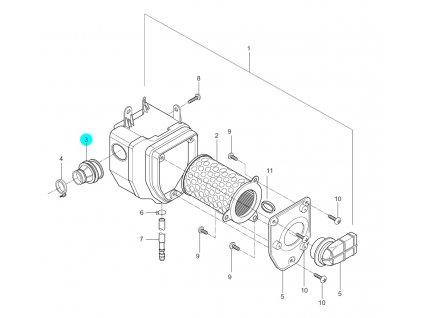 [3] Potrubí gumové (vzduchový filtr) - Hyosung GA 125 Cruise 2