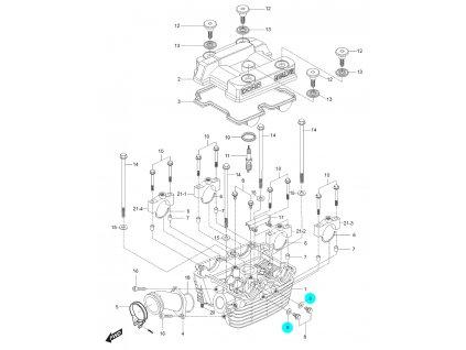 [9] Těsnění (hlava zadního válce) - Hyosung GT 125 N