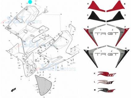 [1] Kapota přední pravá / titanová (kapotáž přední spodní) - Hyosung GT 650i R K (GT 650 RC)
