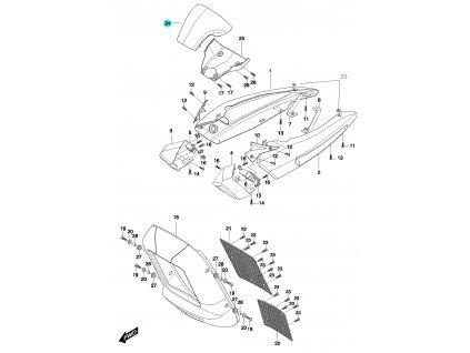 [24] Kryt tachometru (přední kryt a boční kryty) - Hyosung GV 650