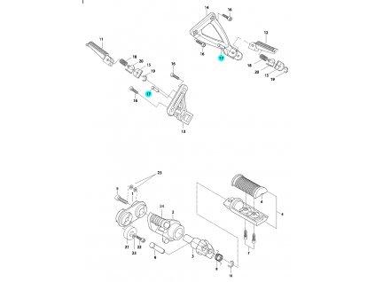 [17] Čep zadní stupačky (FIG33) - Hyosung GV 650