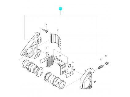 [0] Brzdový třmen přední kompletní (přední brzdič) - Hyosung GPS 125 Hyper / Grand Prix