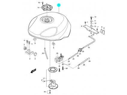 [1] Nádrž / červená 44110HN9110CDR (palivová nádrž) - Hyosung GT 650 S & R