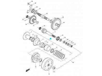[2] Řemenice zadní (převodovka a odstředivá spojka) - Hyosung SD 50 Sense
