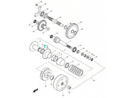 [3] Kolík (převodovka a odstředivá spojka) - Hyosung SD 50 Sense