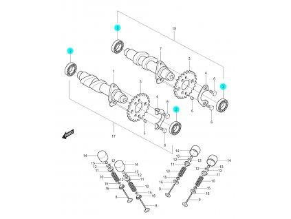 [2] Ložisko (vačkový hřídel / ventilový pohon zadní) - Hyosung GT 125 N