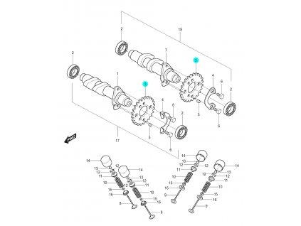 [3] Ozubené kolo (vačkový hřídel / ventilový pohon zadní) - Hyosung GT 125 N