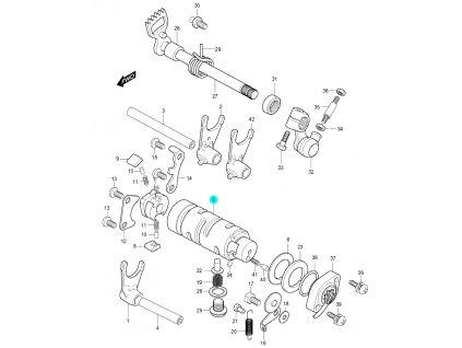 [5] Kulisa řazení (systém převodového řazení) - Hyosung GV 250