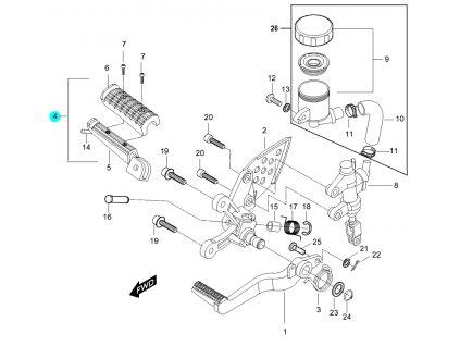 [4] Stupačka přední pravá / nová verze (FIG32) - Hyosung GT 650 N