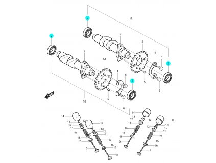 [2] Ložisko (vačkový hřídel / ventilový pohon přední) - Hyosung GT 125 N