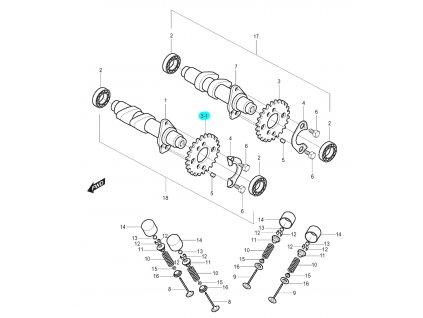 [3-1] Ozubené kolo (vačkový hřídel / ventilový pohon přední) - Hyosung GT 125 N