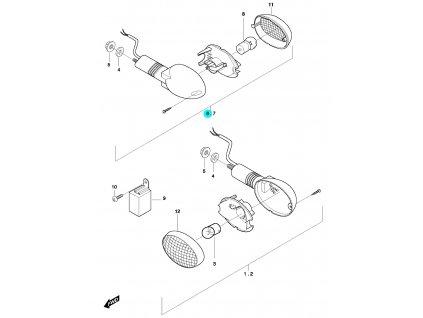 [6] Blinkr pravý zadní kompletní (ukazatel směru) - Hyosung GT 650 N