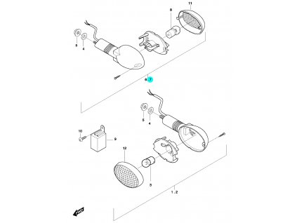 [7] Blinkr levý zadní kompletní (ukazatel směru) - Hyosung GT 650 N