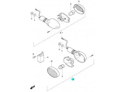 [2] Blinkr levý přední kompletní (ukazatel směru) - Hyosung GT 650 N