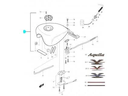 [1] Nádrž / stříbrná-černá (palivová nádrž) - Hyosung GV 250