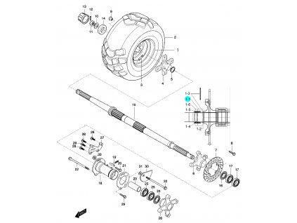 [1-1] Matice (nová verze) (zadní náprava a zadní pravé kolo) - Hyosung 450 Sport