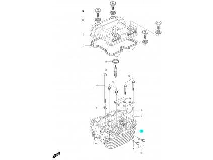 [1] Hlava válce / stříbrná (hlava zadního válce) - Hyosung GV 250i C