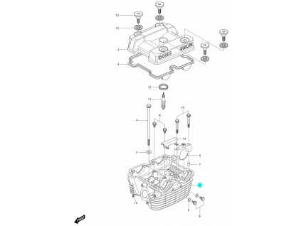[1] Hlava válce / černá (hlava zadního válce) - Hyosung GV 250i D (FI Delphi)