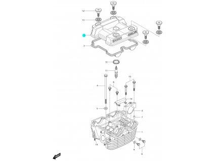 [2] Vrchní kryt (hlava zadního válce) - Hyosung GV 250i
