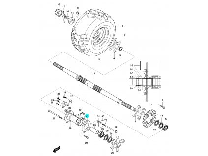 [21] Deska vodící (zadní náprava a zadní pravé kolo) - Hyosung 450 Sport