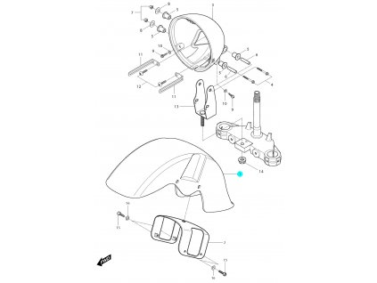 [1] Blatník přední / stříbrno-černý (blatník & držák světlometu) - Hyosung GV 250i