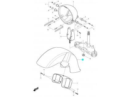[1] Blatník přední / oranžovo-černý (blatník & držák světlometu) - Hyosung GV 250i