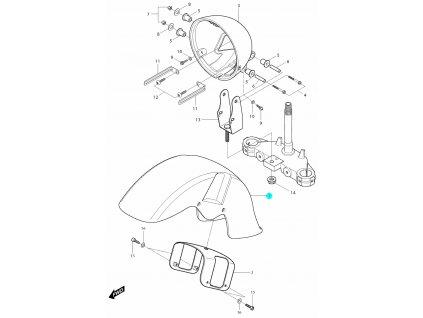 [1] Blatník přední / červený (blatník & držák světlometu) - Hyosung GV 250i D (FI Delphi)
