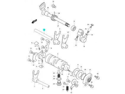 [3] Hřídel (systém převodového řazení) - Hyosung GV 250