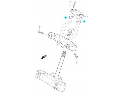 [5] Objímka řidítek spodní (horní brýle tyče řízení) - Hyosung GT 650 S & R