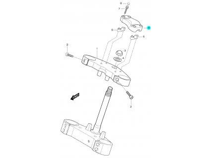 [6] Objímka řidítek vrchní (horní brýle tyče řízení) - Hyosung GT 650 S & R