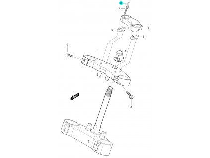 [8] Krytka (horní brýle tyče řízení) - Hyosung GT 650 S & R