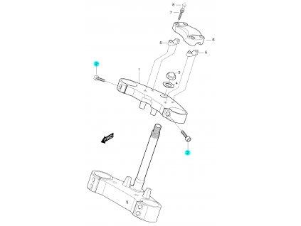 [2] Šroub (horní brýle tyče řízení) - Hyosung GT 650 S & R