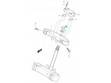 [3] Matice (horní brýle tyče řízení) - Hyosung GT 650 S & R