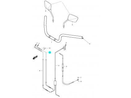 [3] Lanko plynové kompletní (řídítka, zrcátka & bowdeny) - Hyosung GT 650 S & R
