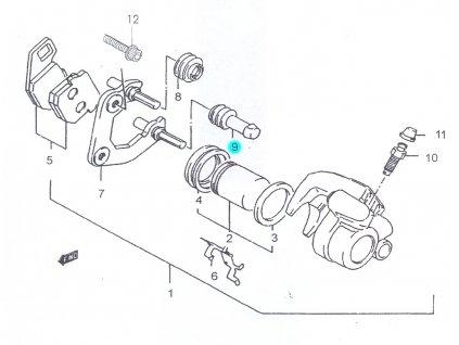 [9] Izolárot (brzdový třmen přední) - Hyosung SB 50 (RUSCH) 1995 - 1996