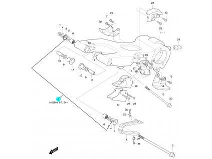 [1] Kyvná vidlice zadní (FIG52) - Hyosung 450 Sport