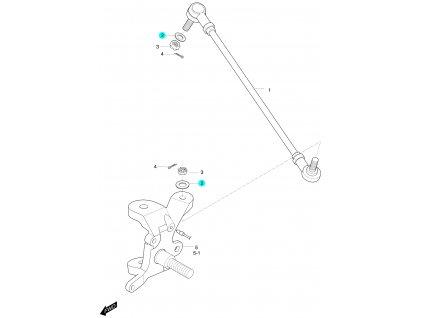 [2] Podložka (táhlo řízení a čep nápravy) - Hyosung 450 Sport