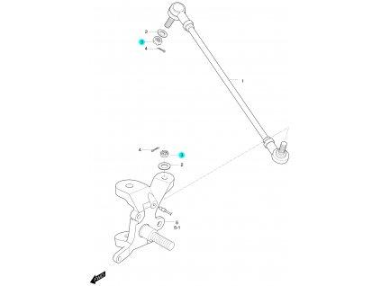 [3] Matice (táhlo řízení a čep nápravy) - Hyosung 450 Sport