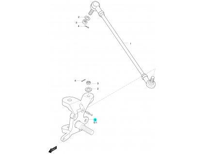 [5] Čep nápravy levý (táhlo řízení a čep nápravy) - Hyosung 450 Sport