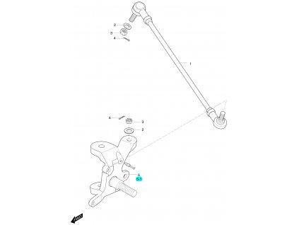 [5-1] Čep nápravy pravý (táhlo řízení a čep nápravy) - Hyosung 450 Sport