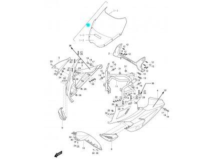 [1] Přední plexi kompletní / čiré (kapotáž přední horní) - Hyosung GT 250 R