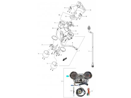 [1-8] Tachometr kompletní digitální (tachometr / otáčkoměr) - Hyosung GV 250