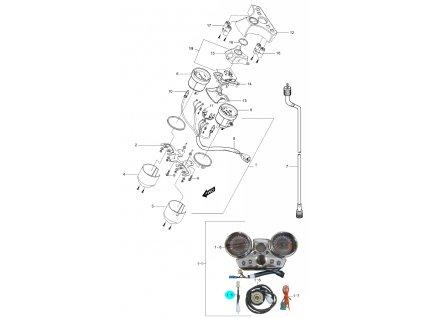[1-5] Elektrický kabel (tachometr / otáčkoměr) - Hyosung GV 250